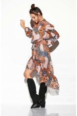 Zwiewna Sukienka Asymetryczna Z Falbankami we Wzory Druk 11