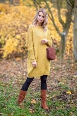Żółta Prosta Wełniana Sukienka z Kimonowym Rękawem