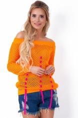 Pomarańczowy Sweter Ażurowy z Ozdobnymi Tasiemkami