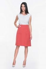 Czerwona Spódnica Lekko Rozkloszowana z Dużymi Kieszeniami