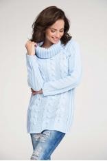 Błękitny Sweter z Warkoczem z Dużym Golfem