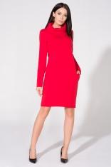 Czerwona Sukienka Dzianinowa z Kominem