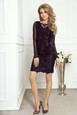 Ołówkowa Sukienka z Czarnej Koronki