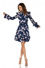 Granatowa Wzorzysta Sukienka w Kwiaty z Falbankami Typu Cold Shoulder
