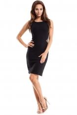 Czarna Sukienka Ołówkowa bez Rękawów z Tiulem