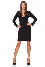 Czarna Sukienka Wizytowa z Kopertowym Dekoltem