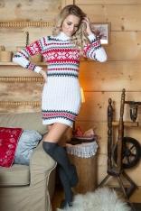 Biała Swetrowa Sukienka z Golfem w Skandynawski Wzór