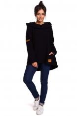 Czarna Asymetryczna Bluza Oversize z Kapturem