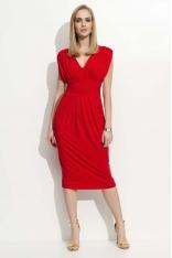 Czerwona Sukienka Dzianinowa z Marszczeniami