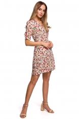 Krótka Sukienka w Kwiatki z Zakładką na Rękawie - Model 5
