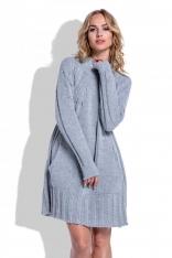 Swetrowa Szara Sukienka Oversize z Kieszeniami