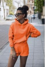 Komplet Dresowy Bluza Kangurka + Szorty - Pomarańczowy