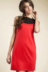 Czerwona Kobieca Dwubarwna Prosta Sukienka