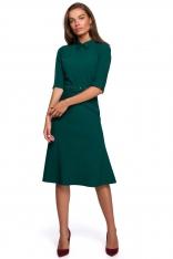 Sukienka z Kołnierzykiem i Suwakiem z Przodu - Zielona