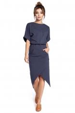 Niebieska Sukienka z Kopertowo Zakładanym Dołem