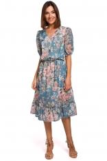 Zwiewna Szyfonowa Sukienka w Kwiaty z Falbanką - Model 4