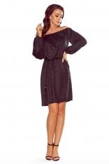 Czarna Połyskująca Sukienka z Hiszpańskim Dekoltem