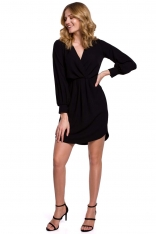 Czarna Sukienka z Długim Bufiastym Rękawem