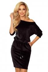 Sportowa Sukienka z Wiązaniem z Przodu - Czarny Welur