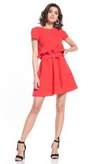 Rozkloszowana Sukienka z Dekoltem V na Plecach - Malinowa