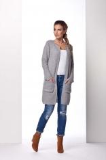 Jasnoszary Płaszczowy Sweter bez Zapięcia