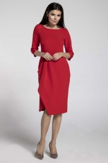 Czerwona Elegancka Sukienka z Zakładanym Dołem