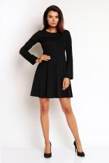 Czarna Klasyczna Sukienka z Szerokim Dołem z Długim Rękawem