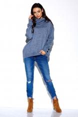 Jeansowy Oversziowy Sweter z Golfem