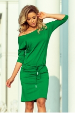 Sportowa Sukienka Ściągana w Pasie - Zielona