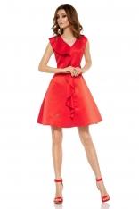 Czerwona Imprezowa Sukienka z Falbanką