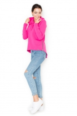 Atrakcyjna Różowa Bluza Damska z Suwakami po Bokach z Kapturem