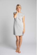 Sukienka z Bawełny Prążkowanej bez Rękawów - Jasnoszara