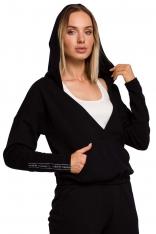 Czarna Bluza Kangurka z Kopertowym Dekoltem