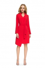Czerwona Sukienka Szmizjerka z Wiązanym Paskiem