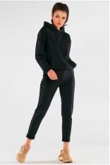 Bawełniane Spodnie z Podwiniętą Nogawką - Czarne