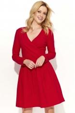Czerwona Sukienka Klasyczna Kopertowa z Szerokim Dołem