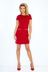 Czerwona Sukienka Prosta Mini z Suwakami