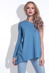 Niebieska Asymetryczna Bluzka na Jedno Ramię
