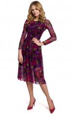 Rozkloszowana Zwiewna Sukienka w Kwiaty - Model 2