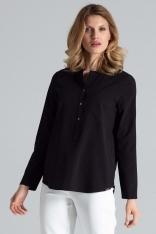 Czarna Bluzka Koszulowa w Liście ze Stójką