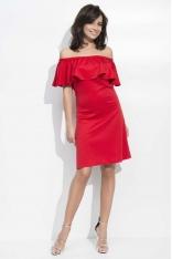 Czerwona Sukienka Trapezowa Midi z Dekoltem Carmen