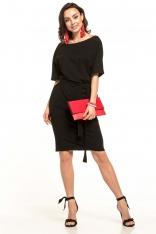 Czarna Dzianinowa Sukienka z Kimonowym Krótkim Rękawem