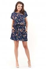 Marszczona Sukienka w Kwiatki - Granatowa