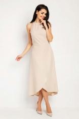 Beżowa Wyjściowa Sukienka Asymetryczna z Wiązanym Dekoltem