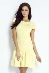 Żółta Sukienka z Ozdobną Falbanką na Dole