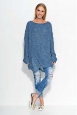 Niebieski Sweter Luźny Długi w Łódkę