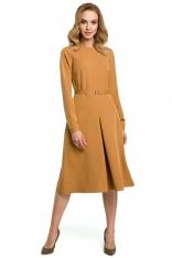 Cynamonowa Elegancka Sukienka do Pracy za Kolano z Paskiem