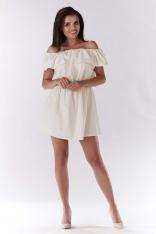 Ecru Sukienka ze Zmysłowym Dekoltem Carmen
