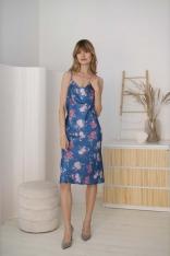 Sukienka na Ramiączkach z Dekoltem Typu Woda -  Niebieski Wzór