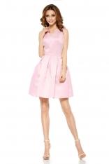 Różowa Połyskliwa Wieczorowa Sukienka Szerokim Dołem